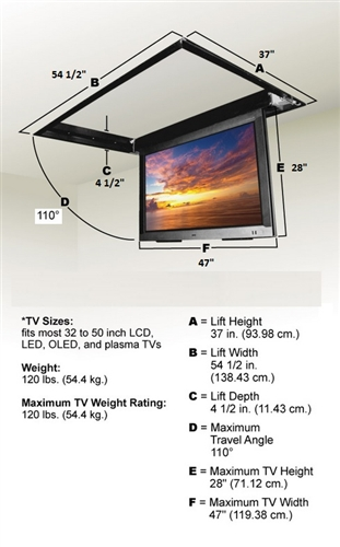 Motorized drop down ceiling tv bracket for 32 in to 52in tvs for Chief motorized tv mount