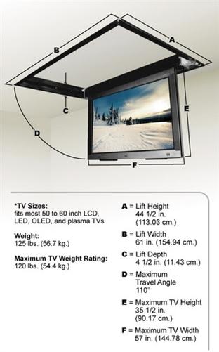 Motorized drop down ceiling tv bracket for Motorized ceiling drop down tv mount
